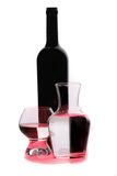 Bottle of red wine  and glasses. Glasses with water and bottle of wine Royalty Free Stock Photography