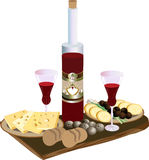 Bottle of red wine glasses, cheese and quail eggs. A bottle of red wine glasses with a snack of cheese, onions and Stock Photography