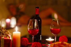 Bottle of red wine and glasses. Stock Images