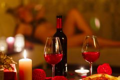Bottle of red wine and glasses. Royalty Free Stock Photography