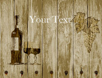 Bottle of red wine glasses and grapes on a wooden background.hand drawn Stock Images