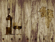 Bottle of red wine glasses and grapes on a wooden background.hand drawn Royalty Free Stock Photos