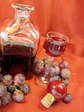 Bottle of red wine and grape stock photos