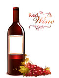 Bottle of red wine with grape Royalty Free Stock Photos