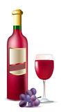Bottle of red wine, grape and g Royalty Free Stock Photo