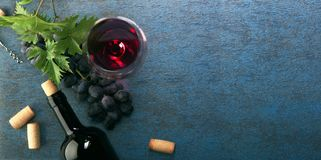 A bottle of red wine and grapes. Top view royalty free stock image