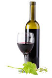 Bottle of red wine, isolated on white background Stock Images