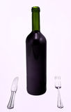 Bottle of red wine with knife and fork Stock Image
