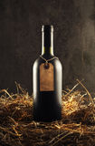Bottle of red wine in the straw Royalty Free Stock Photos