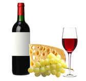 Bottle of red wine, tasty cheese and grape isolated on white Royalty Free Stock Photography