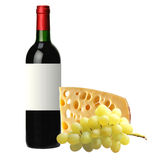 Bottle of red wine, tasty cheese and grape isolated on white Stock Images