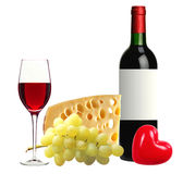 Bottle of red wine, tasty cheese and grape isolated on white Royalty Free Stock Photo