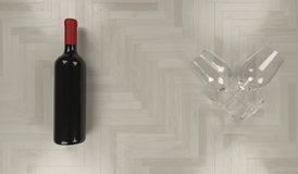 Bottle Of Red Wine With Two Empty Glasses. 3D Rendering Of Bottle Of Red Wine With Two Empty Glasses On Wood Parquet Texture Top View Stock Images