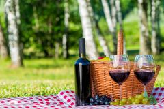 A bottle of red wine and two glasses for a couple. In love on a picnic Stock Image