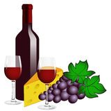 Bottle of red wine, two glasses, grape and cheese. Stock Image