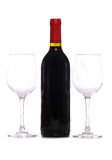 Bottle of red wine with two wine glasses Stock Photo