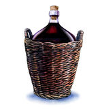 Bottle of red wine in wicker basket isolated on white Stock Image