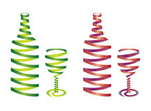 Bottle Ribbon Set Stock Photos