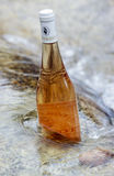 Bottle of ros  wine in the sea Stock Image