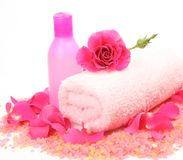 Bottle and rose Royalty Free Stock Photo