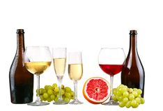 Bottle, a row of white wine glasses with wine and grapes isolate. D on white background royalty free stock image