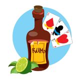 Bottle of rum and playing cards clipart on pirate theme.  stock illustration