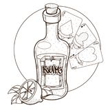 Bottle of rum and playing cards clipart on pirate theme.  vector illustration