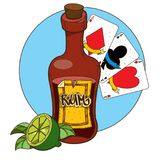 Bottle of rum and playing cards clipart on pirate theme.  royalty free illustration