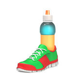 Bottle in the running shoe Stock Photo