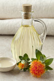 Bottle with Safflower oil Stock Photos