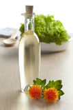 Bottle with Safflower oil Stock Photo
