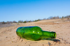 Bottle on a sand Stock Image