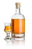 Bottle and schnapps glass filled with amber liquid Royalty Free Stock Photography