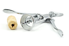 Bottle-screw and cork Stock Image