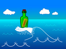 Bottle in a sea. The wave like a hand carry bottle with help message Royalty Free Stock Images