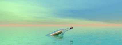 Bottle and sea Royalty Free Stock Images