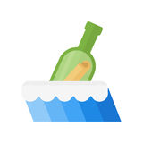 Bottle in sea vector illustration. Royalty Free Stock Images