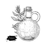Bottle of sesame oil with plant. Vector Hand drawn illustration. Glass pitcher vintage engraving isolated on white background. Great for menu, banner, label Royalty Free Stock Photo
