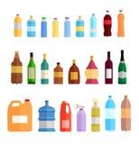 Bottle Set Design Flat Oil and Beverage Stock Images