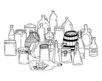 Bottle set doodle, vector illustration. Stock Photo