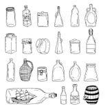 Bottle set doodle, vector illustration. Stock Photos