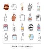 Bottle set doodle, vector illustration Royalty Free Stock Photography