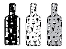Bottle set with drinking glasses Stock Photography