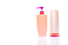 A bottle of shampoo and hair conditioner Royalty Free Stock Photos