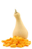 Bottle shaped butternut pumpkin and a cut one Stock Images