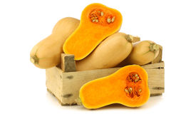 Bottle shaped butternut pumpkins and two halves Stock Images