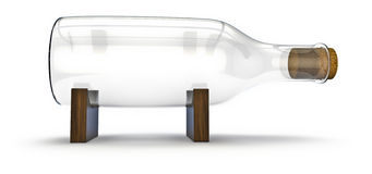 Bottle without a ship. 3d render of empty bottle on display blocks Royalty Free Stock Image