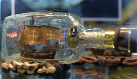 Bottle with ship inside Stock Image