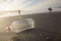 Bottle on the shore. Royalty Free Stock Image