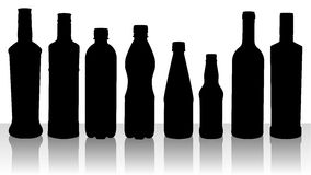 Bottle silhouettes Royalty Free Stock Image